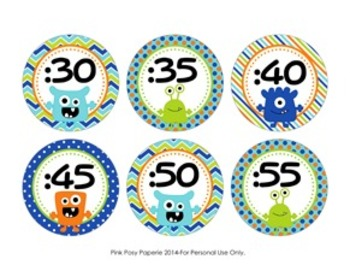 Monster Clock Number Labels