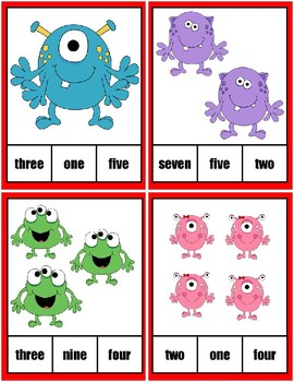 Clothespin Task Card Number Activity - Monster Theme