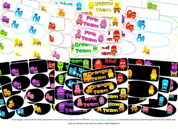 Class Dojo Editable Classroom Color Group, Team, and blank Labelsl 7 colors