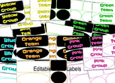 Dojo Editable Classroom Color Group, Team, and blank Labelsl 7 colors