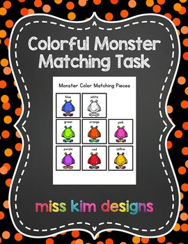 Monster Color Matching Folder Game for students with Autism