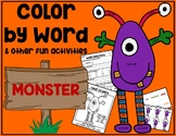 MONSTER Color by Word & Activity Pack