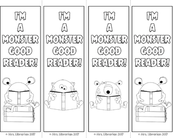 Monster Coloring Bookmarks