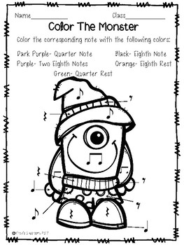 Monster Coloring Pages: Quarter and Eighth notes