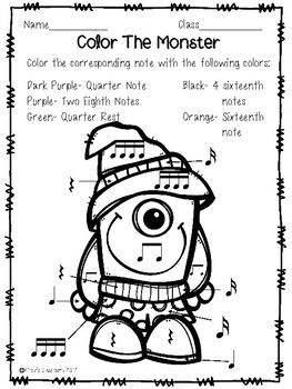 Monster Coloring Pages: Sixteenth Note Edition