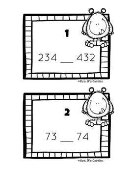 Monster Comparing 2 & 3 Digit Numbers (< , > , =) Task Cards