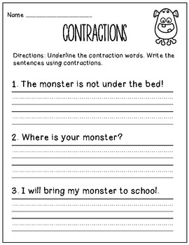 Monster Contractions: Differentiated Contraction Practice