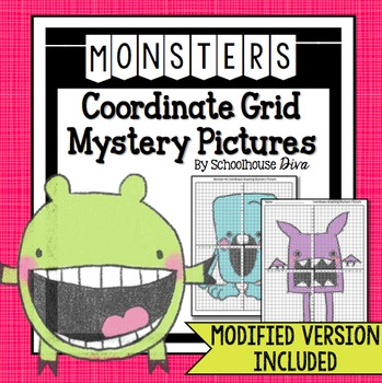 Monster Coordinate Graphing Mystery Pictures (5th - 9th)