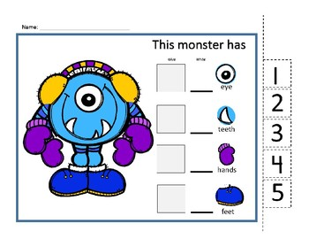 Monster Count 1-5 (count, cut and paste & write numbers 1-5) FREE sample