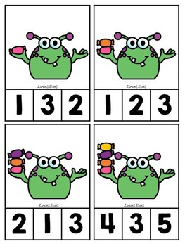 Monster Counting Clip Cards
