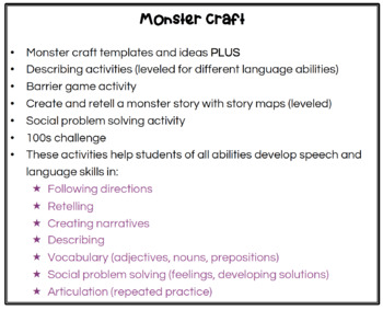 Monster Craft for Speech Therapy