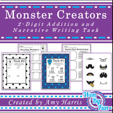 Monster Creators  2-Digit Addition and Narrative Writing Task