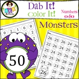 Monster Dab It! Color It! ● Number Recognition ● Numbers 0-50 ● No Prep