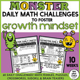 Monster Daily Math Challenges to Foster Growth Mindset - 10 Weeks of Fun!