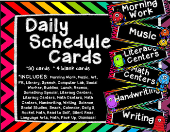 Monster Daily Schedule Cards