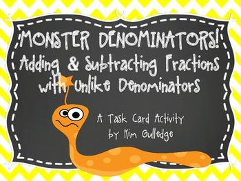 Adding & Subtracting Fractions with Unlike Denominators - Inc. QR Code Fun