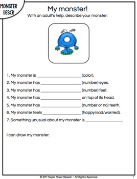 Monster Describing and Guessing Game (FREE)