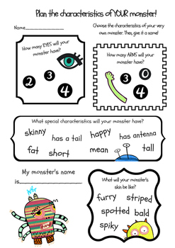 Monster Descriptive Writing Activity