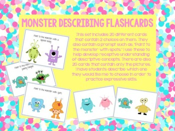 Monster Descriptive/Describing Concepts Flashcards!