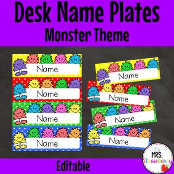 Monster Desk Name Plates | Labels **Editable**