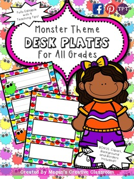 FREE Monster Desk Plates Classroom Essentials {Summer Cele