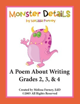 Monster Details:  A Poem About Writing for Grades 2, 3, & 4