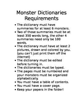 Monster Dictionaries