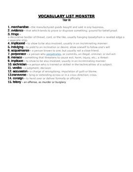 Monster Differentiated 3 Vocabulary Tests and Unit