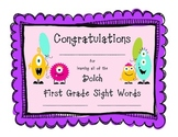 Monster Dolch Sight Word Sticker Books and Certificates