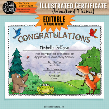 Illustrated Certificate: Woodland Theme EDITABLE
