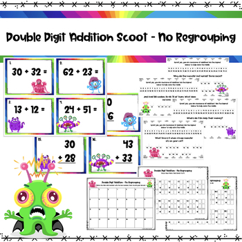 Double Digit Addition - Scoot/Math Centres/Flashcards