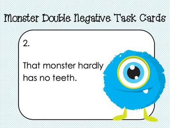 Monster Double Negative Task Cards