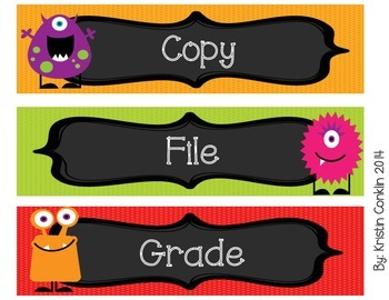 Monster Drawer Labels or Objective Headers