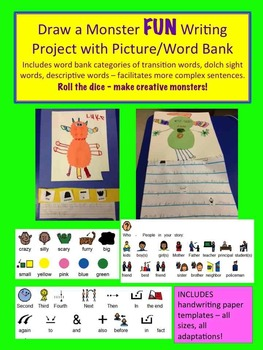 Monster Drawing/Writing Project - with picture/words for sentences/paragraph