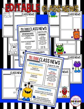 Monster EDITABLE Class News & Calendars