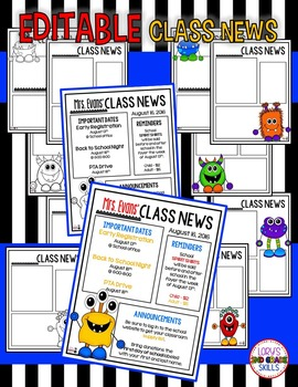 Monster EDITABLE Class News & Calendars