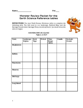 Monster Earth Science Reference table Review Packet With KEY