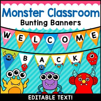 Monster Theme Classroom Decor Editable Banner