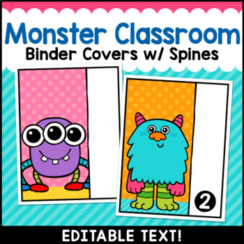 Monster Theme Classroom Decor Editable Binder Covers {A}