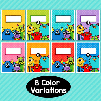 Monster Theme Classroom Decor Editable Binder Covers {B}