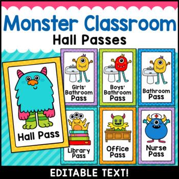 Monster Theme Classroom Decor Editable Hall Passes