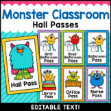Monster Theme Classroom Decor Editable Hall Passes