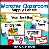 Monster Theme Classroom Decor Editable Supply Labels