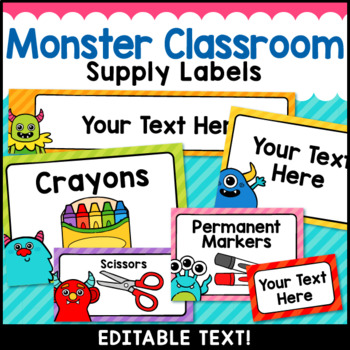 Monster Theme Classroom Decor Editable Supply Labels