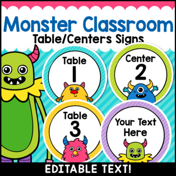 Monster Theme Classroom Decor Editable Table Numbers