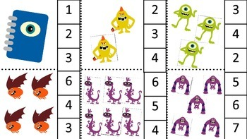 Monster Elementary Alphabet & Numbers Clip Cards