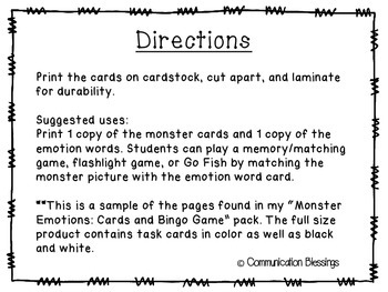 Monster Feelings and Emotions Cards Freebie