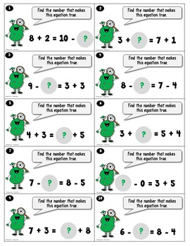 Monster Equations using Addition and Subtraction with Single Digits Bundled