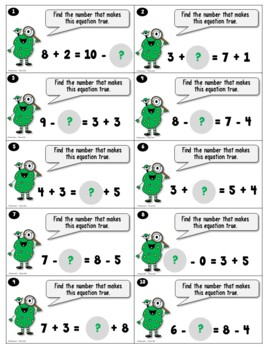 Equal Equations with Simple Addition and Subtraction_Monster
