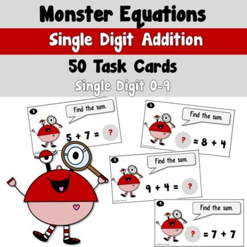 Monster Equations using Simple Addition Task Cards